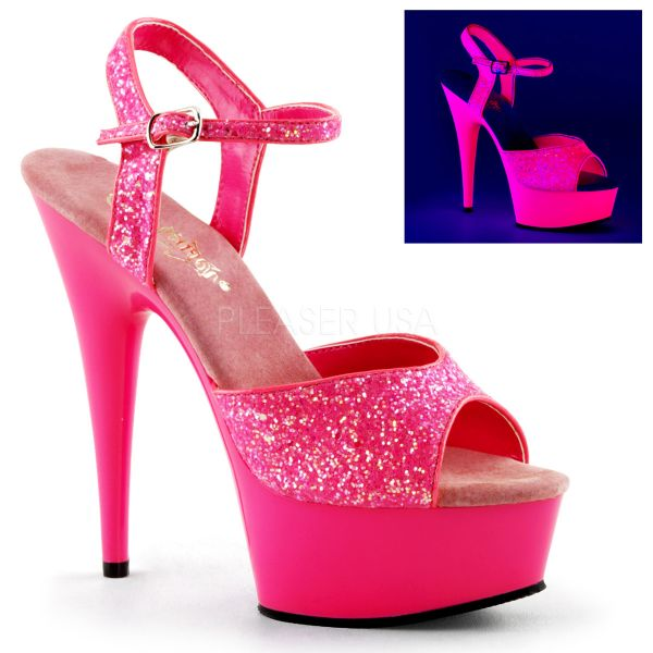 Glitter Plateau Sandalette mit Riemchen in neon-hot-pink DELIGHT-609UVG